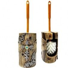 Wood Look w/ Flower Toilet Brush Holder