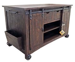 Barn Door Kitchen Island w/ Stools