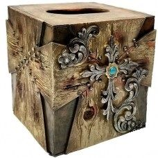 Wood Look w/ Flower Tissue Box