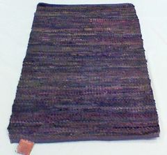 "Handwoven Black Multi-Color Leather Rug ""42 x29"""