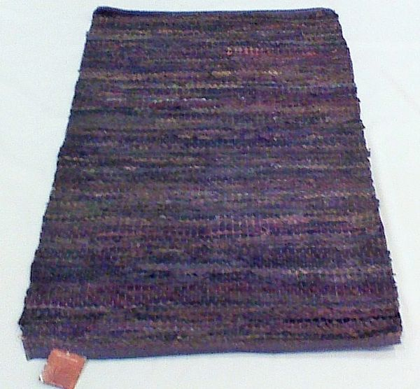 """Handwoven Black Multi-Color Leather Rug """"42 x29"""""""