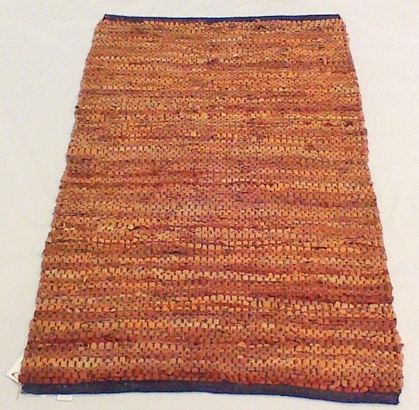 """Hand-woven Light Brown Leather Rug """"42 x29"""""""