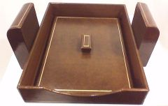 Leather Executive Desk Set with Lid and 24K Gold Inset Trim