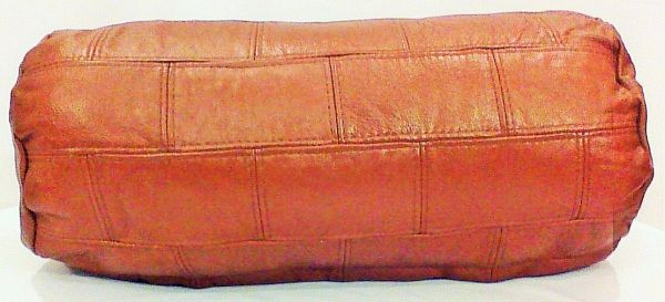 "Genuine Leather Handmade Patchwork Pillow Set Lt. Brown) 22""L x 10""H x 10""W"