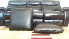 "Black Leather Custom Handmade Pillow Set and Hide - 24""x24"""