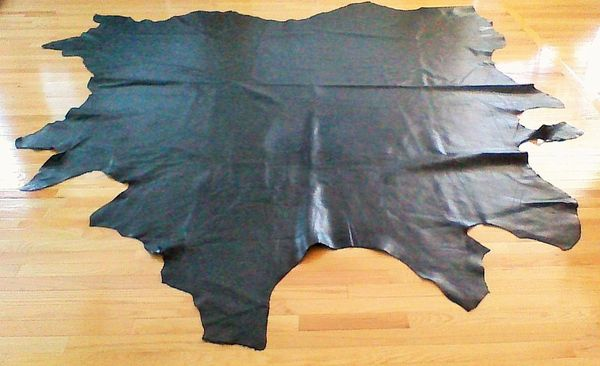 "Full Leather CowhideTexas Black 52.3 sq.ft (91""x83"") 3.5 oz"