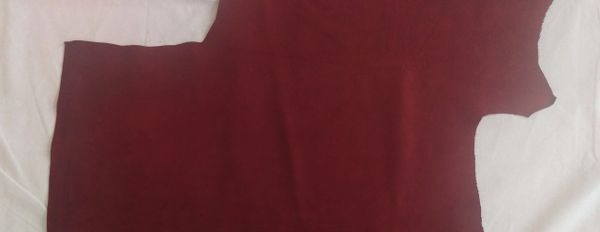 Cowhide Nubuck Leather - Red Wine / Burgundy 19.5 Sq.Ft / 3.0 oz.
