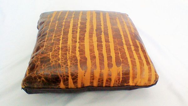 "Custom Two-Color Genuine Leather Brown Haze Pillow/Cushion Set 20"" X 20"""