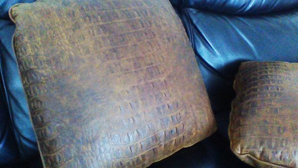 "Custom Brown Leather Embossed Croc Pillow/Cushion Set 18"" X 18"""