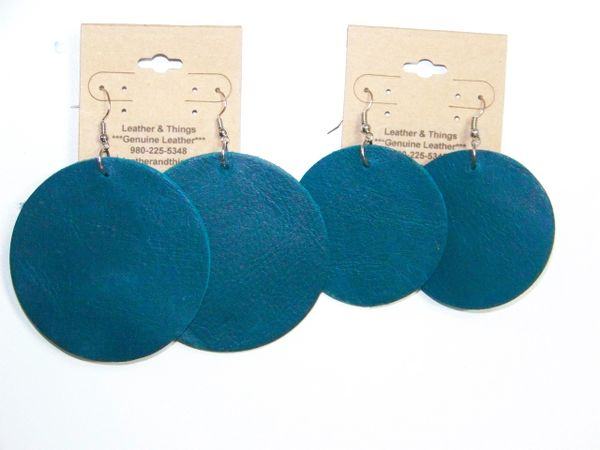 "Big Circle 2 ½"" or 2"" Genuine Leather Earrings - Coral Blue"