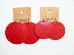 "Circle 2 ½"" Genuine Leather Earrings- Red"
