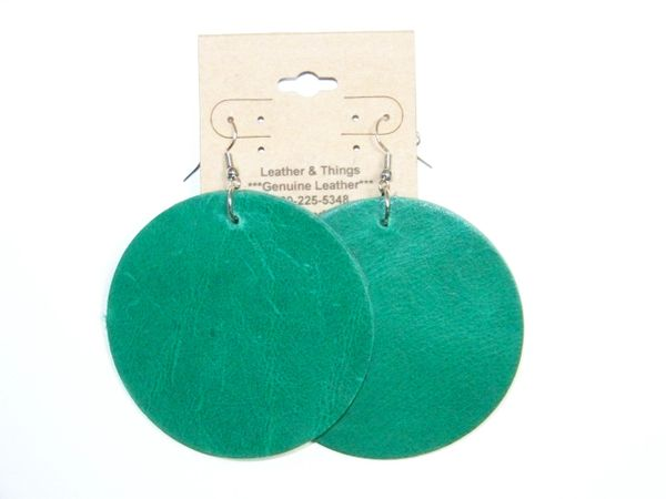 "Big Circle 2 ½"" or 2"" Genuine Leather Earrings - Teal"