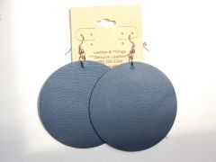 "Circle 2 ½"" Genuine Leather Earrings - Textured Blue"