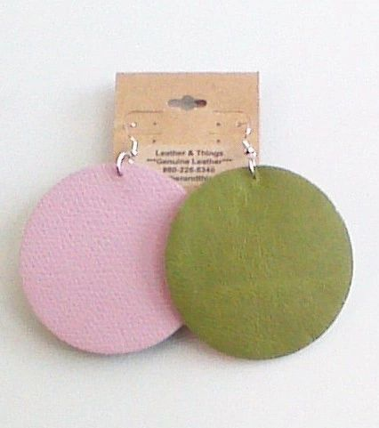 "Big Circle 2 ½"" or 2"" Genuine Leather Earrings - Textured Pink & Green"