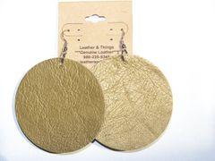 "Big Circle 2 ½"" or 2"" Genuine Leather Earrings - Metallic Gold"