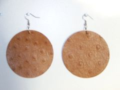 """Big Circle 2 ½"""" or 2""""Genuine Leather Earrings - Blaze Ostrich"""