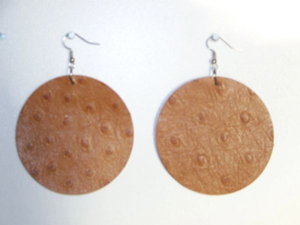 "Big Circle 2 ½"" or 2""Genuine Leather Earrings - Blaze Ostrich"