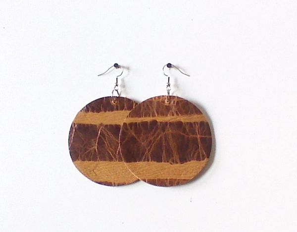 "Circle 2"" Genuine Leather Earrings - Brown Haze"