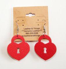 """1 ½"""" Die-Cut Heart Lock Leather Earrings - Textured Red"""