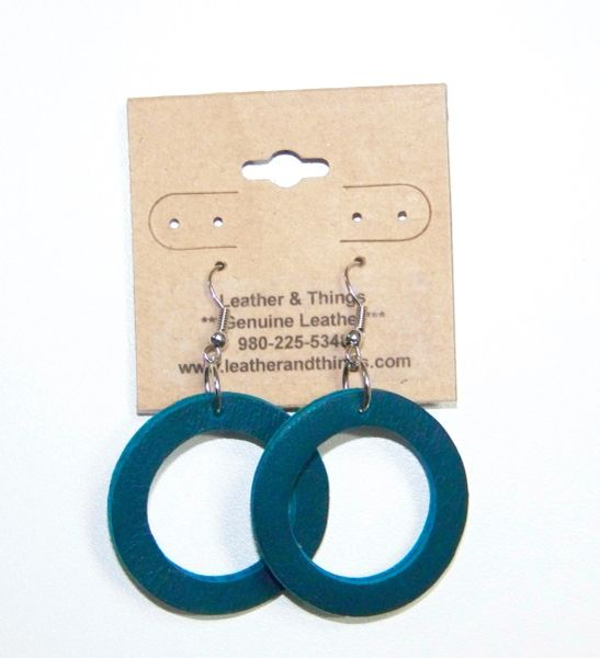 "1 ½"" Die-Cut Leather Hoop Earrings - Emerald Blue"