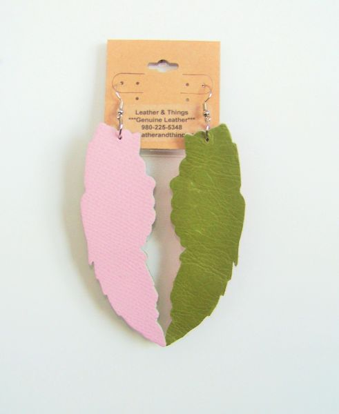 "Large 4"" Angel Wings Genuine Leather Earrings - Pink & Green"