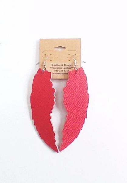 "Large 4"" Angel Wings Genuine Leather Earrings - Red"