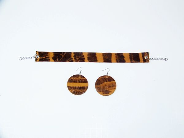 "Big Circle 2 1/2"" or 2"" Genuine Leather Earrings - Brown Haze"