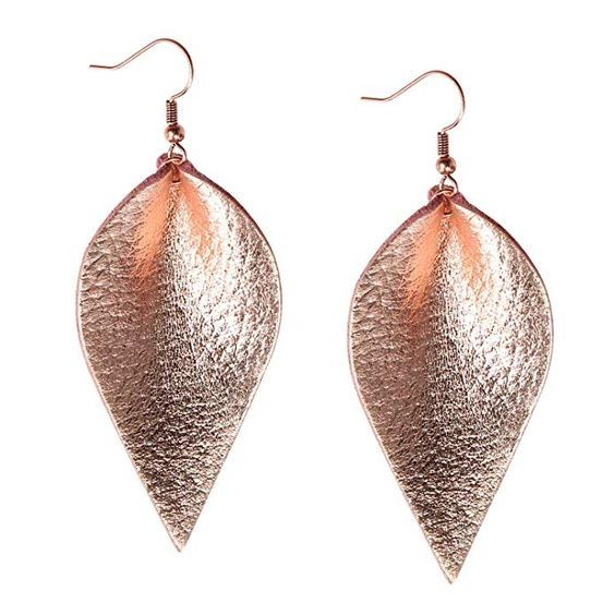 Handmade Genuine Leather Leaf Drop Earring - Metallic