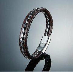 Men's Handmade Genuine Braided Leather & Stainless Steel Bracelet