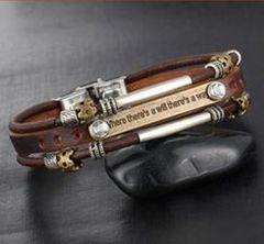 Leather Vintage Style Men's Metal Studded Fashion Bracelet