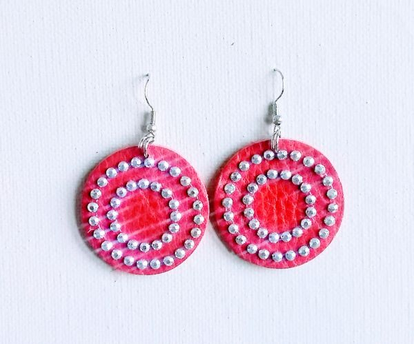 "Bling Circle 1 1/2"" or 2"" Genuine Leather Earrings- Red"