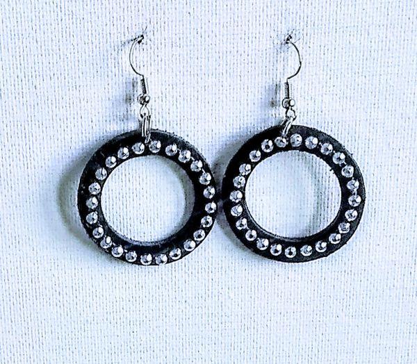 """Bling Hoop 1 1/2""""or 2"""""""" Genuine Leather Earrings- Black"""