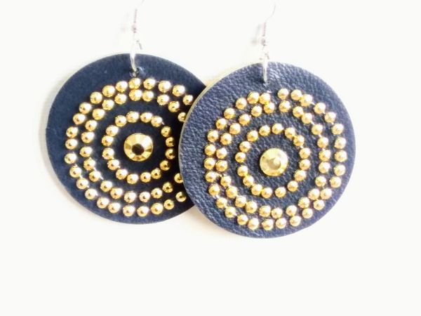 """Bling Circle 1.5 """" or 2"""" Genuine Leather Earrings- Red"""