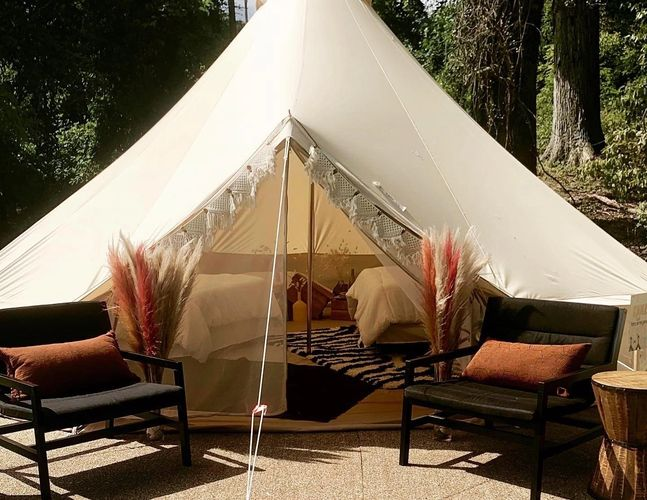 Glamping Tent from Fred's Tents and Canopies. It is a 6 meter or approx. 20 ft. round tent.