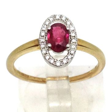 9ct gold oval ruby ring with halo of diamonds