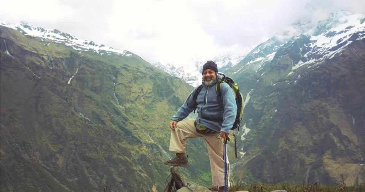Cdr. Girish Konkar trekking in the Himalayas.