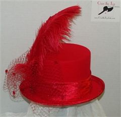 Red fur felt Top Hat or Riding Hat with ostrich feathers