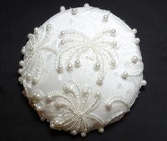 Vintage beaded fabric over white silk pillbox