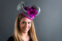 Silk Abaca Fascinator with fuchsia feather flowers and trim, great for the Kentucky Derby,