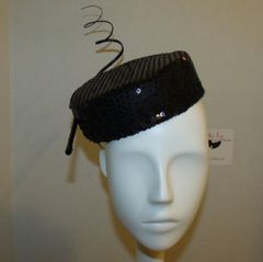 Black Sequin Pillbox Fascinator with curled Quill