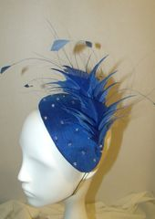 Royal Blue Cocktail Hat in Blue Silk with Clear Swarovski Crystals