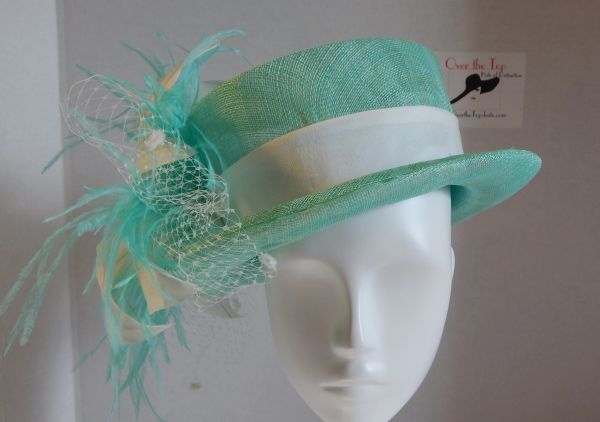 Mint Sinamay Riders Hat with Hand tooled Lily and ostrich trim