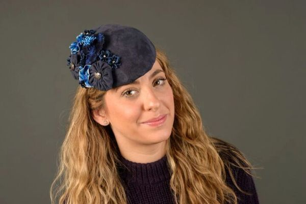 "Navy Leather ""Kate"" styled Hat with Flowers"