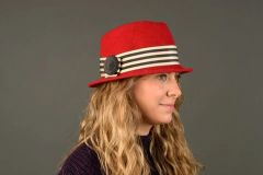 Red wool felt fedora with wide Black & white Striped Band