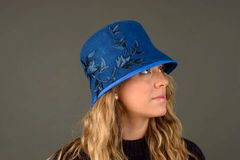 Royal Blue Wool Felt Cloche