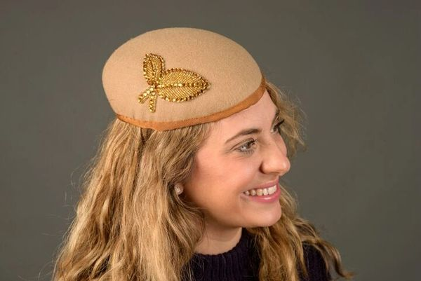 Camel wool perch hat with Gold Trim
