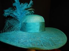 Kentucky Derby Turquoise Big Brimmed Hat with Feathers, Netting & , Lace