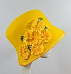 Yellow Fur Felt Cloche with Silk Ribbon Flowers