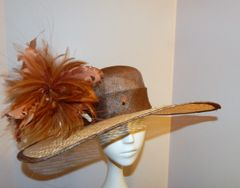 Brown and Cream Sinamay Hat