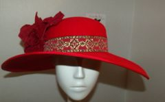 Red Fur Felt Big Brim Hat with hand tooled velvet flowers